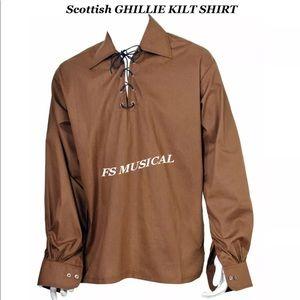 Scottish GHILLIE KILT SHIRT in BROWN Color
